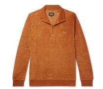 Cotton-blend Velour Half-zip Sweatshirt - Orange