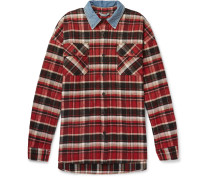 Oversized Denim-trimmed Checked Cotton-flannel Overshirt