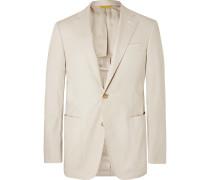 Stone Stretch-cotton Suit Jacket - Beige