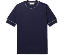 Slim-fit Contrast-tipped Cotton T-shirt - Storm blue