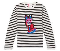 Slim-fit Appliquéd Striped Cotton-jersey T-shirt - White