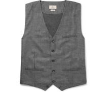 Slim-fit Puppytooth Wool Waistcoat - Gray