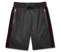 Logo-trimmed Fleece-back Jersey Drawstring Shorts - Black