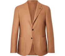 Camel Slim-fit Unstructured Wool Blazer - Brown