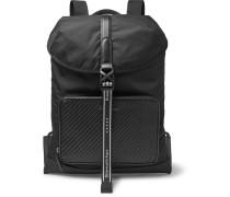 Pelle Tessuta Leather And Nylon Backpack - Black
