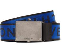 3.5cm Leather-trimmed Logo-jacquard Webbing Belt