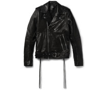 Rider Slim-fit Tasselled Leather Biker Jacket