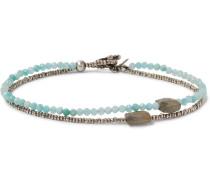 Sterling Silver, Amazonite And Quartz Bracelet