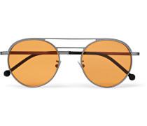 Aviator-style Silver-tone Sunglasses