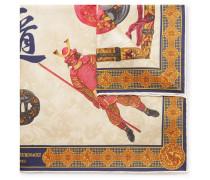 Samurai-print Silk-twill Pocket Square