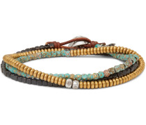 Bronze, Copper and Sterling Silver Multi-Stone Wrap Bracelet