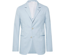 Sky-blue Slim-fit Unstructured Stretch-cotton Twill Suit Jacket