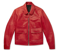 Leather Blouson Jacket - Red