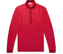 Cotton And Silk-blend Piqué Polo Shirt - Red
