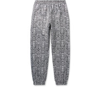 Logo-Embroidered Snake-Print Shell Track Pants