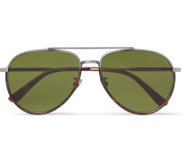 Aviator-style Tortoiseshell Acetate And Silver-tone Sunglasses