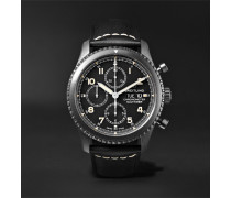 Navitimer 8 Chronograph 43mm Black Steel And Leather Watch