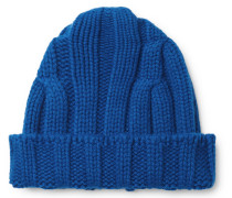 Ribbed Merino Wool And Cashmere-blend Beanie - Blue
