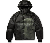 Printed Quilted Shell Hooded Down Jacket
