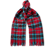 Ontario Fringed Embroidered Checked Wool Scarf