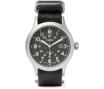 Allied Stainless Steel And Stonewashed Leather Watch - Black