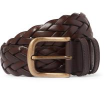 3.5cm Dark-Brown Woven Leather Belt