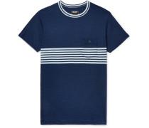 Indigo-dyed Striped Cotton-jersey T-shirt