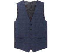 Navy Slim-fit Prince Of Wales Checked Wool-blend Waistcoat - Navy