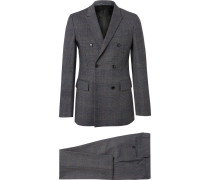 Charcoal Slim-fit Double-breasted Prince Of Wales Checked Wool Suit