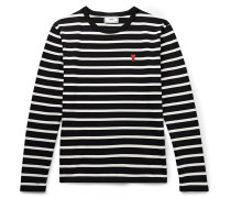 Logo-Appliquéd Striped Cotton-Jersey T-Shirt
