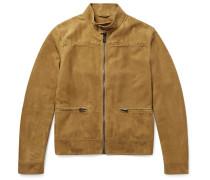 Suede Blouson Jacket - Beige