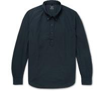 Button-Down Collar Cotton Half-Placket Shirt