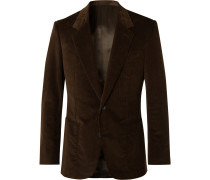 Brown Slim-Fit Cotton-Blend Corduroy Suit Jacket