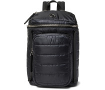 New Yannick Leather-trimmed Quilted Shell Backpack - Navy