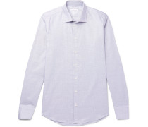 Pin-Dot Cotton-Poplin Shirt