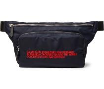 Leather-trimmed Embroidered Shell Belt Bag - Navy