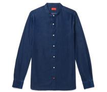 Slim-fit Grandad-collar Cotton-chambray Shirt - Blue