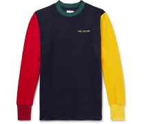 Logo-Embroidered Colour-Block Fleece-Back Jersey Sweatshirt