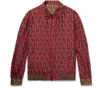 Reversible Logo-print Silk Blouson Jacket - Red