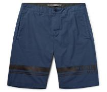Slim-fit Printed Stretch-cotton Poplin Bermuda Shorts
