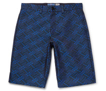Slim-fit Satin-jacquard Shorts - Blue