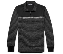Shell-trimmed Jacquard Half-zip Sweater - Black