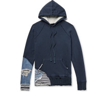 Slim-fit Distressed Denim And Stripe-panelled Loopback Cotton-jersey Hoodie