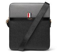 Colour-block Pebble-grain Leather Messenger Bag