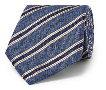 8cm Striped Textured-silk Tie - Blue