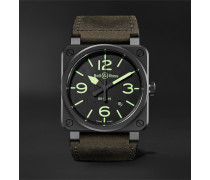 BR03-92 Nightlum Automatic 42mm Ceramic and Leather Watch