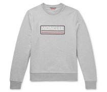 Embroidered Mélange Loopback Cotton-jersey Sweatshirt