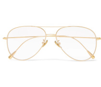 Aviator-style Gold-plated Optical Glasses - Gold