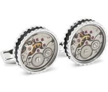 Gear Rhodium-plated And Enamel Cufflinks - Silver