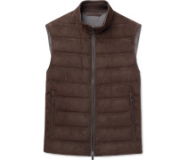 Quilted Suede And Cotton Down Gilet - Brown